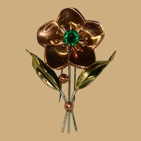 Fabulous Copper Brass Green Rhinestone Fur Clip Immaculate Condition