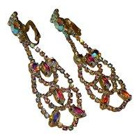 Gorgeous Julianna Long Chandelier AB Rhinestone Earrings