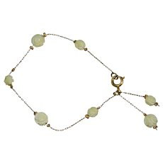 Dainty Gold Tone Carved Celluloid Rose Bead Chain Bracelet