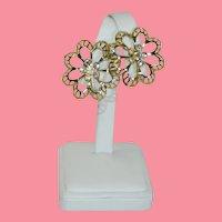 Prettiest Ever Gold Tone AB Rhinestone Flower Shoe Clips