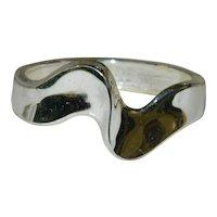 Premier Designs Chunky Silver Tone Wave Clamper Bracelet
