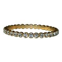 Gold Plated Rhinestone Bangle Bracelet