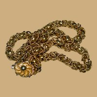 Pretty Japanese Canetille Chain Gold Plated Necklace Flower Clasp