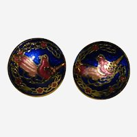 Pretty Cloisonne Bird Earrings for Pierced Ears