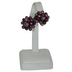 Japan Import Deep Purple Beaded Cluster Earrings