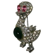 Earliest Jelly Belly Glass Rhinestone Duck Ducky Brooch