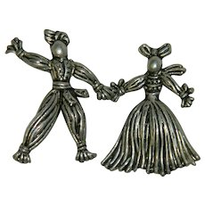 Pot Metal Rag Doll Pair WWI Good Luck Dolls Pins Brooches