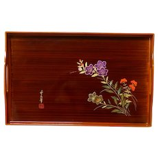 Japanese Lacquer Ware Serving Tray Florals Gorgeous