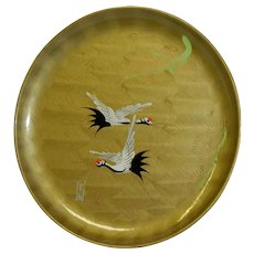 Japanese Omochaya Lacquer ware Plate Cranes Gorgeous!