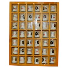 Complete Collection of President Thimbles Porcelain in Shadow Box Case with paperwork