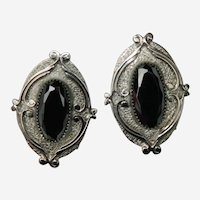 Whiting and Davis Hematite Scroll Work Earrings