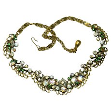Fantastic Green Aurora Borealis Rhinestone Seed Pearl Floral Book Chain Necklace Statement
