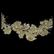 Very Early Celluloid Floral Bridal Hair Piece Hair Band