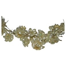 Very Early Celluloid Floral Bridal Hair Piece Hair Band