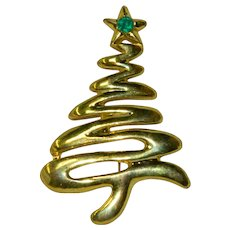 Pretty Modernist Christmas Tree Brooch Green Rhinestone Star