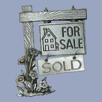 Fun Realtor's Sold House Brooch JJ Jonette Jewels