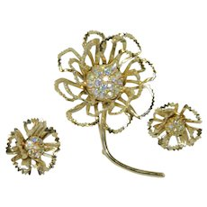 "Sarah Coventry ""Allusion"" Flower Brooch and Earring Set"
