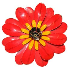 Huge Flower Power Red Yellow Bright Brooch