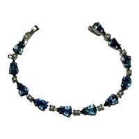 Chic B. David Sapphire Blue Rhinestone Tennis Bracelet