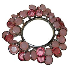 Chunky Pink Bezel Set Lucite Crystals Charm Bracelet
