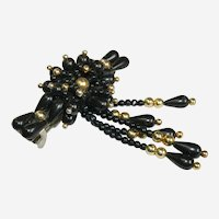 Dramatic Black & Gold Beaded Hair Clip Barrette
