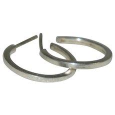 Elegant Solid Sterling Silver Hoop Earrings Pierced.#