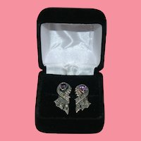 Gorgeous Amethyst Sterling Silver Marcasite Ribbon Modernist Earrings Pierced