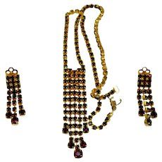 Dramatic Garnet Red Rhinestone Waterfall Necklace & Clip Earrings Set
