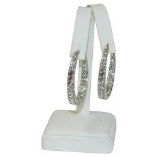 High End Rhodium Plated Sterling Silver Baguette Rhinestone Hoop Earrings Pierced