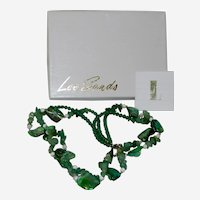 Lee Sands Green Mother of Pearl Shell Beaded Necklace in Original Box