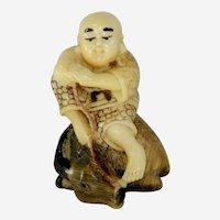 Netsuke Monk with Mountain Goat Resting Ojime Bead Alabaster