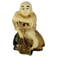 Netsuke Monk with Mountain Goat Resting Ojime Bead Alabaster