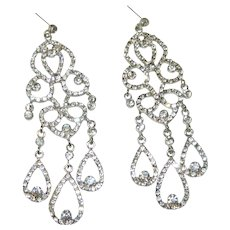 Over the Top Rhinestone Bridal Prom Pierced Earrings