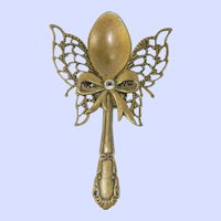 Vintage Brass Salt Spoon Angel Brooch