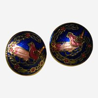 Pierced Cloisonne Bird Earrings Cobalt Blue
