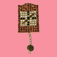 Top Shelf Pave Set Rhinestone Cuckoo Clock Brooch Pristine!