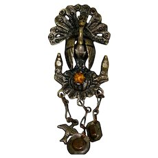 Peruvian Colonial Tupu Pin Brooch Shawl Pin Peacock