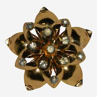 Flashy Rose Gold Floral Brooch with Rhinestone Tips Pendant Too