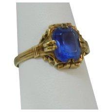 Remarkable 14k Rose Gold Filled Art Deco Cobalt Blue Plastic Stone Ring sz 8