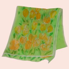 Vera Neumann Happy Tulips Yellow Green Spring Chiffon Scarf 11 x 55""