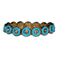 Fabulous Victorian Style Faux Turquoise and Crystals Stretch Bracelet