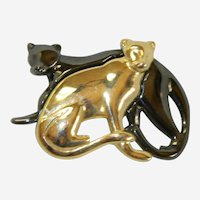 For the Love of Big Cats! Two Panthers in Loving Embrace Liz Claiborne Brooch