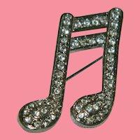 Sparkling Music Note Rhinestone Silver Tone Brooch