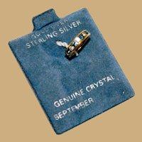 On Original Card Vermeil Sapphire Crystal Ring Charm