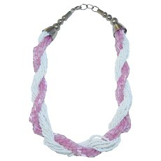 Sweet Multi Strand Seed Bead Pink & White Torsade Necklace