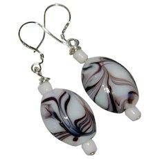 Summer White Art Glass Beaded Sterling Silver Earrings