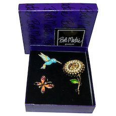Bob Mackie Spring Collection Hummingbird, Daisy, Butterfly Pins Brooches in Original Box