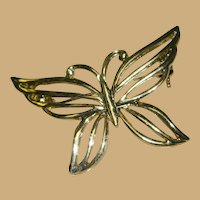 Vendome Boxed Gold Tone Butterfly Brooch