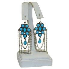 Elegant Faux Turquoise Chandelier Earrings Pierced