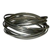 Stack of 12 Silver Tone Bangle Bracelets